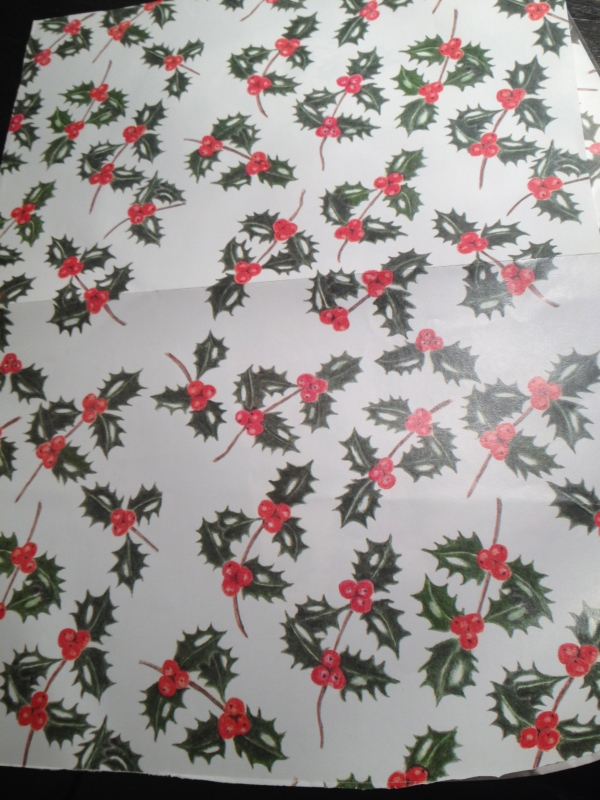 Holly and ivy wrapping paper by Joan Longley, Botanical Artist, Herne Hill Market