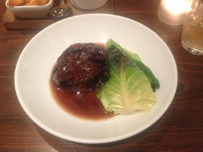 Beef cheek with January King (that's the green stuff on the side)