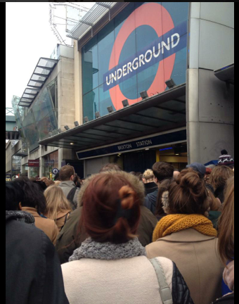 Scenes outside Brixton tube during rush hour