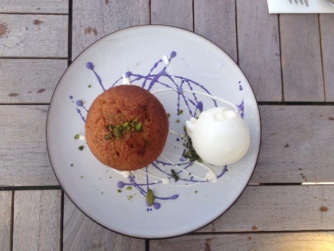 Honey cake with orange ice cream and lavender. Too pretty to eat, but we did.